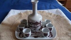 Alföldi porcelán pálinkás készlet tálcán