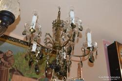 5 ágú kristály függős réz csillár