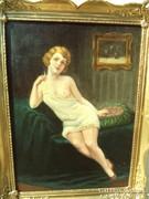 Szép akt festmény Czene Béla blondel keretben