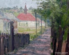 Shady Street with Church, Oil painting