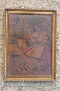 Ripl Rónai festett fa intarzia kép ( sérült ! )