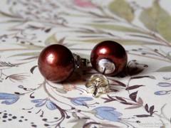Gyönyörű ezüst fülbevaló valódi gyönggyel