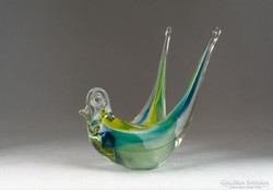 0N022 Színezett művészi üveg fecske dísztárgy 16cm
