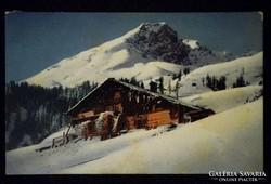A077 Képeslap Alpok - Faház kunyhó vadászház 1916