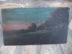 Jelzett tájkép olaj-karton 30*17cm