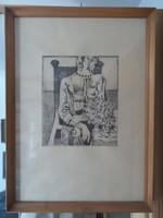 Túry Mária (1930-1992) rézkarc, kétszeres Munkácsy díjas művész