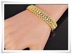 18 karátos arany - gold plated - vésett karkötő 19 cm x14 mm