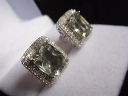 Nagy zöld ametiszt köves ezüst fülbevaló, szikrázó!