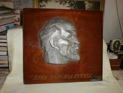 Lenin plakett  lakkozott falapon , szláv szöveggel