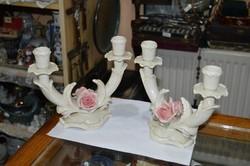 2 darab ENS porcelán gyertyatartó