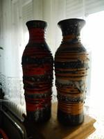 Egy pár képcsarnokos iparművészeti csíkos kerámia váza zsűri