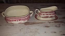 Antik angol porcelán kínáló + szószkiöntő