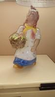 Ráhmer Mária sárga kendős, kosaras kerámia kislány figura