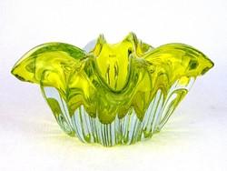 0M826 Fújtüveg BOHEMIA művészi üveg tál 18.5 cm