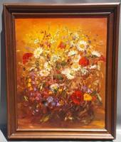 Virágcsokor olasz olajfestmény vászonra