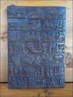 Életképes terrakotta falikép , fali kerámia