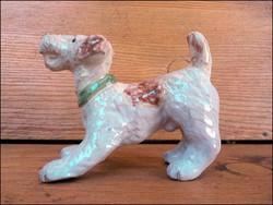Régi mázas kerámia terrier kutya figura , Izsépy