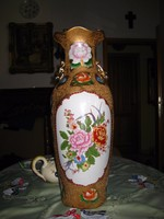 Keleti aranybrokátos  porcelán váza  ,60 cm !