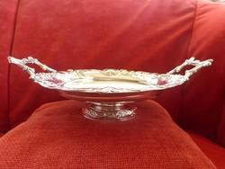 Elegáns antik ezüst talpas tálca 1867-1890 Diana jelzéssel