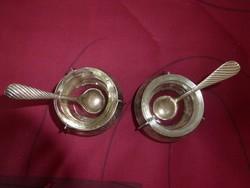 Antik ezüstözött, üvegbetétes kaviártartó pár, kiskanalakkal