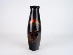 0M885 Retro aranyhalas fekete váza 25 cm