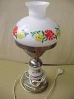 Antik art deco virágos tejbúrás lámpa