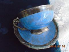 Franz Neukirschner tervezte Ezüstvirágos királykék teás csésze alátéttel Waldershof-2
