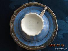 Franz Neukirschner tervezte Ezüstvirágos királykék teás csésze alátéttel Waldershof(3)