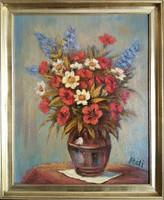 Réti Mátyás: Virágcsendélet, - keretezett olajfestmény