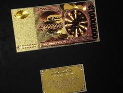 1.000.000 EURO 24 kt ARANY UNC BANKJEGY LUXUS SZETT CERTIFIKÁTTAL, RITKA AJÁNDÉK