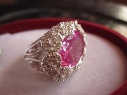 Hatalmas, gyönyörű rózsaszín topáz 925 ezüst gyűrű 15,3 gr