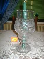 Üveg asztali gyertya, mécses tartó