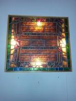 Antik ólomüveg ablak, keretben, beépített hátsó világítással
