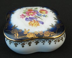 Német porcelán kobaltkék ékszertartó