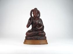 0M987 Tibeti meditáló Buddha szobor fafaragás