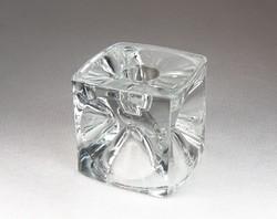 0N059 Művészi üveg kocka dísztárgy 7 cm