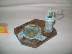 Régi bányász lámpás hamutál - réz, fa, üveg