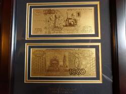 OROSZ 1000 RUBEL ARANY UNC BANKJEGY 2 db-os LUXUS SZETT