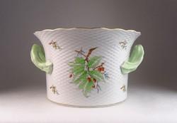 0M991 Óriási hecsedlis Herendi porcelán kaspó