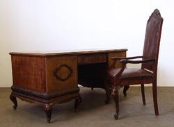 0N260 Antik neobarokk íróasztal karfás székkel