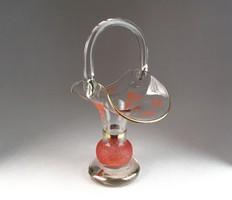 0N021 Régi fújt üveg kosár 22 cm