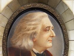 ..amazing ivory portrait of Franz Liszt, Liszt Ferenc portré, csont lemezen s keretben, 1860