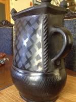 Népi fekete kerámia - Gyertyamártó - 30 cm