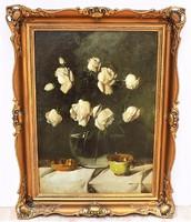 Murin Vilmos (1891-1952) Rózsás csendélet olajfestmény 87x67