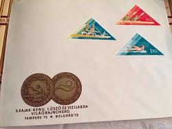 X kajak-kenu, I úszó és vizilabdaVBelsőnapi boríték 1973-ból