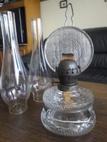Régi falra akasztható petróleum lámpa + cilinder