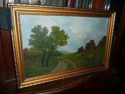Pintér Ronald szép festménye Art Deco keretben 57*37 cm