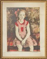 Imre István: Ülő lány (színezett rézkarc)