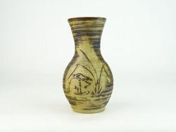 0N238 Régi gólyás Stoob L. M. kerámia váza 13.5
