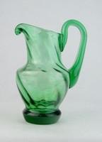 0N243 Hibátlan kis méretű zöld üveg kancsó 14.5 cm